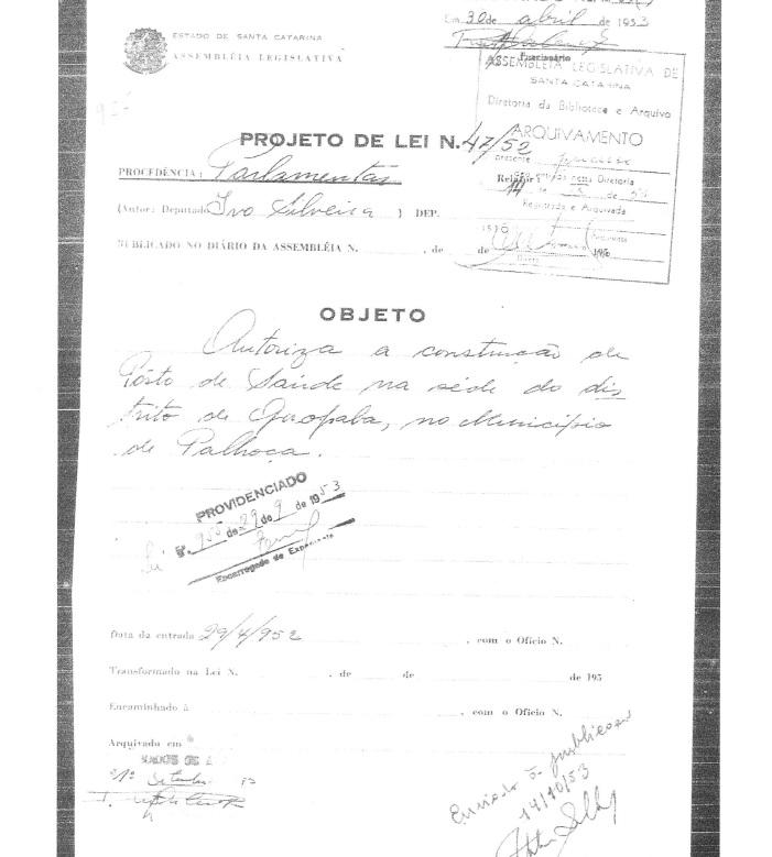 Reprodução do PL 42/1952, de autoria do deputado Ivo Silveira