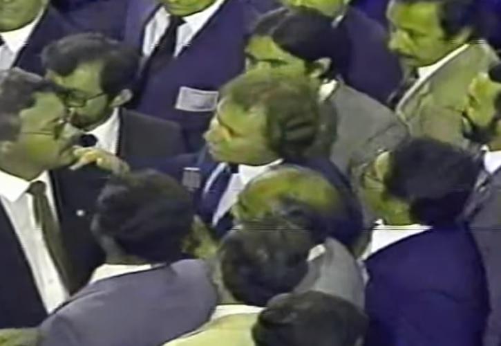 O deputado federal Casildo, durante a votação do Colégio Eleitoral, em 1985